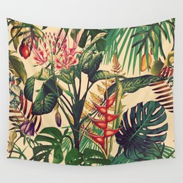 Vintage Tropical Flora (green) Wall Tapestry
