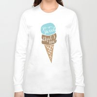 "onesie Long Sleeve T-shirts featuring Ice cream cone baby onesie ""so sweet, that's me"" by Spilling Beans"