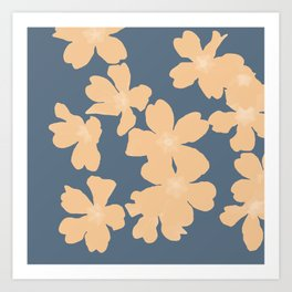 Nude primroses floral pattern on blue Art Print