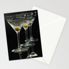 Three Martini's and three olives.  Stationery Cards