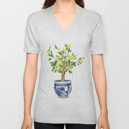 Lemon tree , watercolor painting Unisex V-Neck
