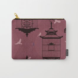 Rasberry Empty Brid Cages Carry-All Pouch
