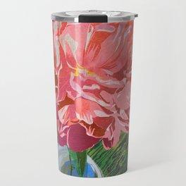Single Peach Coral Peony in a Ball Canning Jar Travel Mug