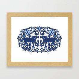 Scandinavian Cat blue Framed Art Print