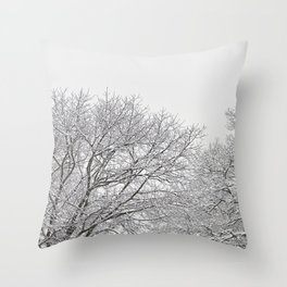 Snow covered tree tops Throw Pillow