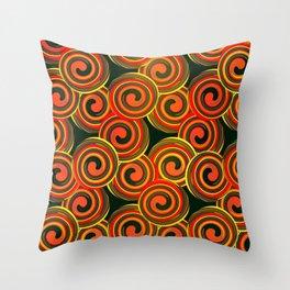 orange round abstract Throw Pillow