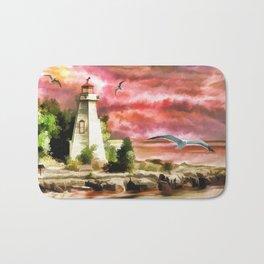 Lighthouse During Sunset Bath Mat