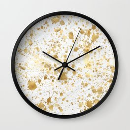 Golden Splatters  Wall Clock