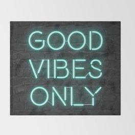 Neon Good Vibes - Teal Throw Blanket
