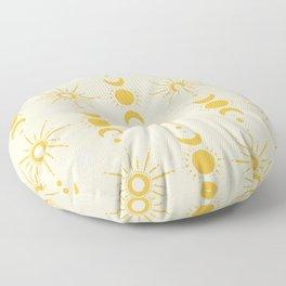 Yellow Sun & Moon Pattern Floor Pillow