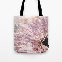 bisexual Tote Bags featuring Pink flower with glitter by Better HOME