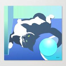 Jack Cat Does Pushups Canvas Print