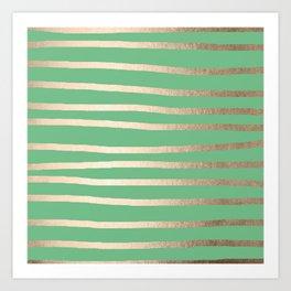Abstract Drawn Stripes Gold Tropical Green Art Print