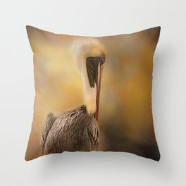 Pelican in the Mist Throw Pillow