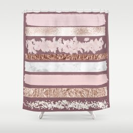 Girly Pink Purple Glitter Rose Gold Brushstrokes Shower Curtain