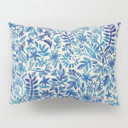Floating Garden - a watercolor pattern in blue Pillow Sham