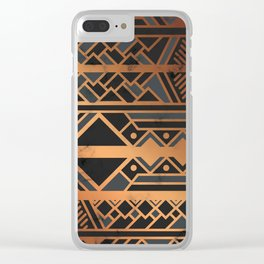 Black & Gold 028 Clear iPhone Case