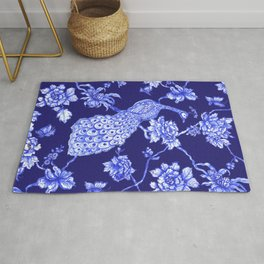 Chinoiserie Peacock Navy Rug