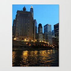 Chicago River and Buildings at Dusk Color Photo Canvas Print