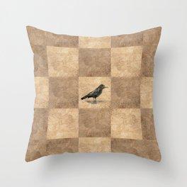 Patchwork Crow Throw Pillow