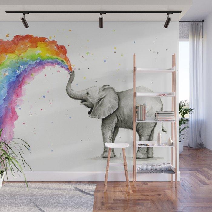 Baby Elephant Spraying Rainbow Wall Mural By Olechka