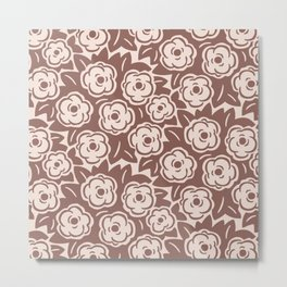 Flower Bouquets Brown and Beige 223 Metal Print