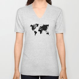 world map 94 black #worldmap #map #world Unisex V-Neck