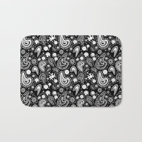 Paisley Power Black and White Bath Mat