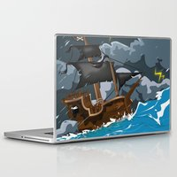 pirate ship Laptop & iPad Skins featuring Pirate Ship in Stormy Ocean by Nick's Emporium Gallery