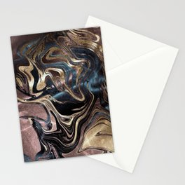 Marble Paint Swirl Trendy Abstract Glitter Rose Gold Pink Teal Turquoise Stationery Cards