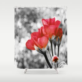 Flowers Pop Of Color Living Coral Orange Shower Curtain