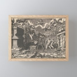 The Vision of Ezekiel; a group of corpses and skeletons emerging out of tombs, above them five winge Framed Mini Art Print
