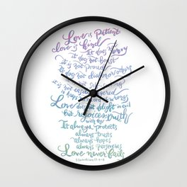 Love is patient, Love is Kind-1 Corinthians 13:4-8 Wall Clock