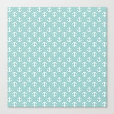 Mint Anchors Pattern Canvas Print