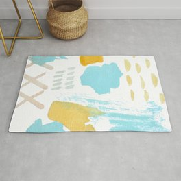 Summer blue yellow abstract Rug