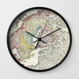 Map of Scandinavia, Norway, Sweden, Denmark and Finland Wall Clock