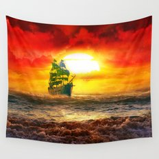 Black Pearl Pirate Ship Wall Tapestry