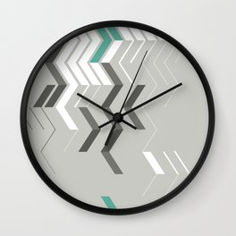 Deconstructed Chevron B – Gray / Teal Abstract Pattern Wall Clock