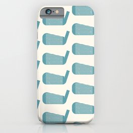 Golf Club Head Vintage Pattern (Beige/Blue) iPhone Case