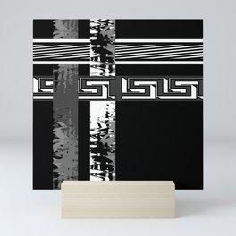 Creative Black and white pattern . The braided belts . Mini Art Print