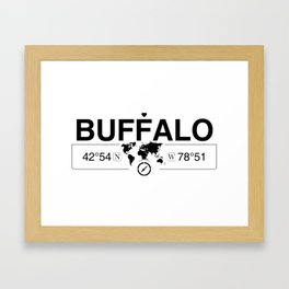 Buffalo New York GPS Coordinates Map Artwork with Compass Framed Art Print