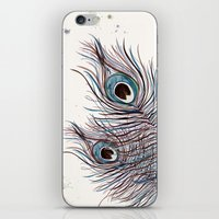 peacock iPhone & iPod Skins featuring PEACOCK by Monika Strigel