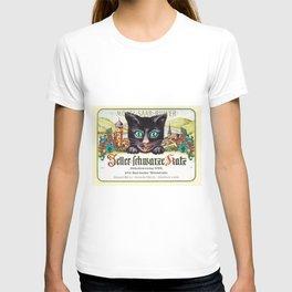 Vintage Zeller Schwarze Katz Black Cat Wine Bottle Label Print T-shirt