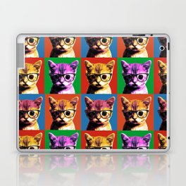 4 Pop Art Kitten with Glasses Laptop & iPad Skin