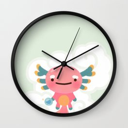 Umpearl - Axolotl with magic pearl Wall Clock