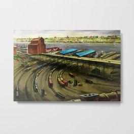 American Masterpiece 'Railroad Yard Along the River' by Lamar Dodd Metal Print