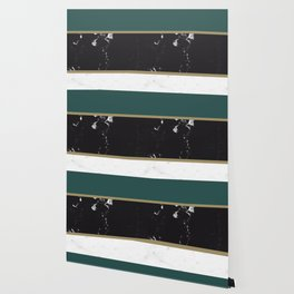 Marble Mix Stripes #4 #black #white #green #gold #decor #art #society6 Wallpaper