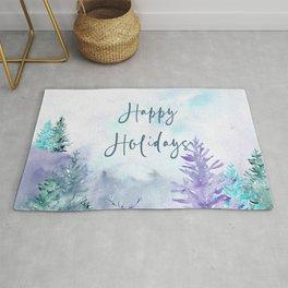 Watercolor Happy Holidays Winter Wonderland Rug