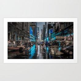 Spectacular Busy New York Manhattan City Street Blue Hue HD Art Print