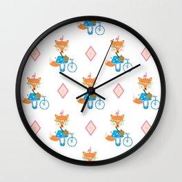 Girl Fox with Pink Diamond Wall Clock